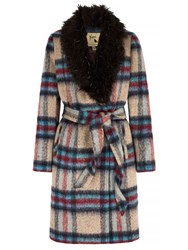 Yumi Check Faux Fur Collared Wrap Coat Multi Coloured Multi Coloured
