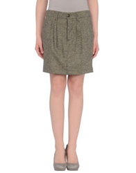 Monocrom Knee Length Skirts Military Green