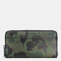 Coach Accordion Wallet In Wild Beast Camo Print Pebble Leather Military Wild Beast
