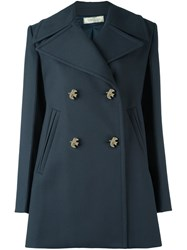 Nina Ricci Double Breasted Coat Blue