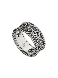 Gucci Gg Motif Cut Out Ring Silver