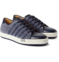Berluti Playfield Washed Suede And Burnished Leather Sneakers