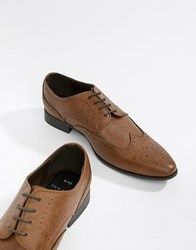 New Look Faux Leather Brogue Shoes In Tan