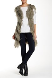 Loveriche Faux Fur Shaggy Vest Green