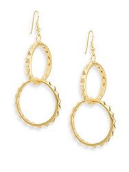 Kenneth Jay Lane Couture Collection Pyramid Circle Drop Earrings Satin Gold