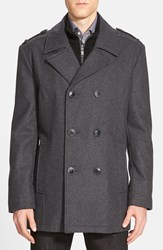 Andrew Marc New York Marc New York By Andrew Marc 'Joshua' Double Breasted Wool Blend Peacoat With Inset Bib Charcoal