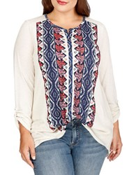 Lucky Brand Plus Plus Printed Long Sleeve Top White