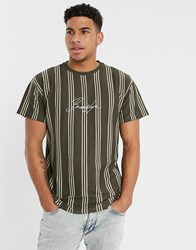 New Look Brooklyn Embroidered Vertical Stripe T Shirt In Rust Brown