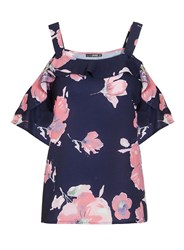 Dorothy Perkins Quiz Navy Flower Print Strappy Top