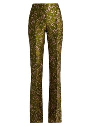 Giambattista Valli Floral Jacquard High Waisted Flared Trousers Green Multi