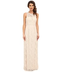 Donna Morgan Harper Illusion Neck Lace Long Gown Fawn Women's Dress Beige