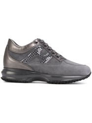Hogan Lace Up Sneakers Leather Suede Rubber Grey