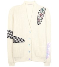 Christopher Kane Embellished Mohair Blend Cardigan White