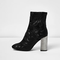 River Island Womens Black Embroidered Sequin Block Heel Boots