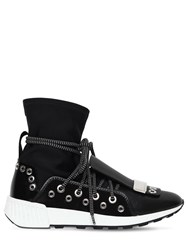 Sergio Rossi 30Mm Sr1 Neoprene And Leather Sneakers Black