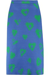Etre Cecile Printed Bonded Jersey Midi Skirt Blue