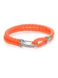 John Hardy Classic Chain Silver Hook Station Leather Bracelet Orange