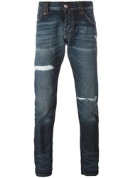 Philipp Plein Distressed Slim Fit Jeans Blue