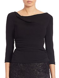 Theia Three Quarter Sleeve Side Ruched Top Black