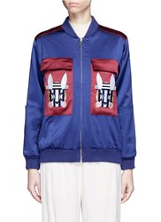 Helen Lee 'Bad Bunny' Embroidered Colourblock Bomber Jacket Blue