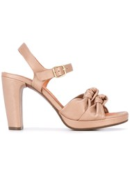 Chie Mihara Knot Heeled Sandals Women Leather Foam Rubber 36 Nude Neutrals