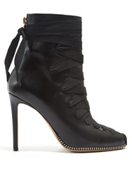 Altuzarra Lace Up Leather Ankle Boots Black