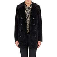 Saint Laurent Men's Faux Fur Peacoat Black Blue Black Blue