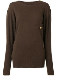 Chanel Vintage 1980'S Buttoned Shoulder Slouchy Jumper Brown