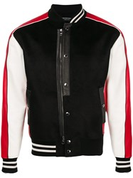 Alexander Mcqueen Button Up Bomber Jacket Black