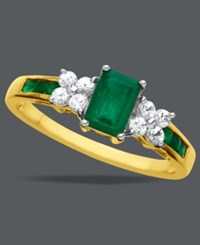 Macy's 14K Gold Ring Emerald 3 4 Ct. T.W. And White Sapphire 1 4 Ct. T.W. Emerald Cut Ring