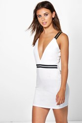 Boohoo Alexis Rib Trim Plunge Bodycon Dress Ivory