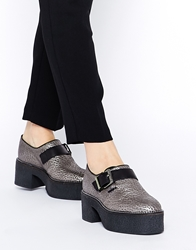 Tba To Be Announced Arson Platform Buckle Shoes Pewterleather