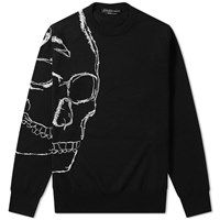 Alexander Mcqueen Embroidered Skull Crew Knit Black