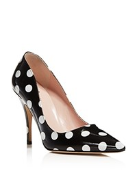 Kate Spade New York Licorice Polka Dot Pointed Toe High Heel Pumps Black White
