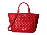 Love Moschino Superquilted Small Tote Red Tote Handbags