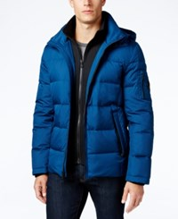 Michael Kors Men's Hooded Puffer Coat With Attached Bib Pacific Blue