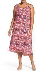 Sejour Plus Size Women's Print High Low Sundress Pink Black Print
