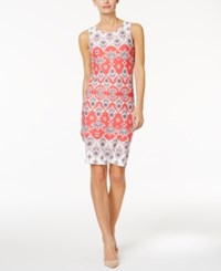 Charter Club Petite Printed Sheath Dress Only At Macy's Crushed Coral Combo