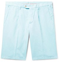 Loro Piana Slim Fit Pleated Cotton And Linen Blend Bermuda Shorts Light Blue