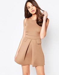 Ax Paris Pleated Skater Dress With Pockets Mocha Brown