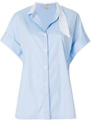 Mantu Ribbon Collar Shirt Blue