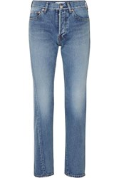 Balenciaga Twisted High Rise Straight Leg Jeans Mid Denim