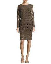 Nic Zoe Long Sleeve Lacy Knit Sheath Dress Bark