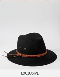 Reclaimed Vintage Fedora With Pattern Leather Band Black