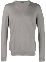 Kiton V Neck Fine Knit Sweater Grey