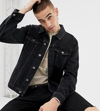 Heart And Dagger Skinny Denim Jacket In Washed Black