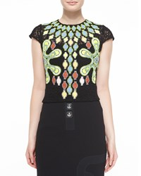 Peter Pilotto Cap Sleeve Embroidered Tunic Blouse Black