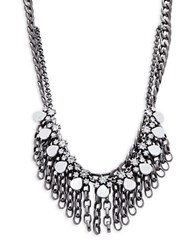 Gerard Yosca Crystal And Chainlink Linear Drop Layered Necklace Silver