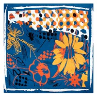 Bianca Elgar Orange Flowers Summer Square Scarf Black White Blue