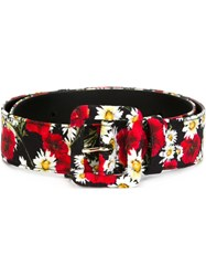 Dolce And Gabbana Daisy And Poppy Print Belt Black